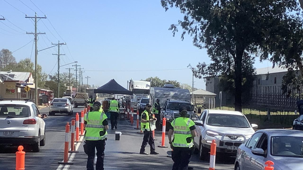 YOU SHALL NOT PASS: The static roadside testing operation at Brigalow on Friday, August 38. Pic: Supplied