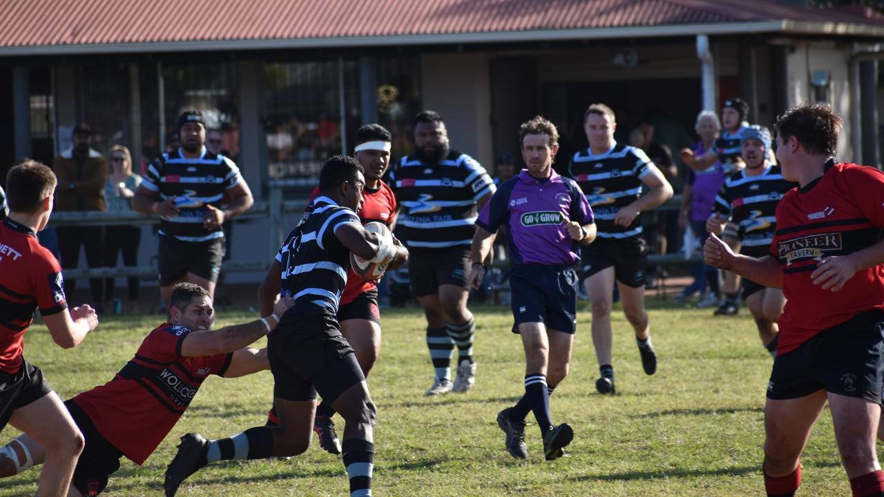 Nemani Matirewa breaks a tackle