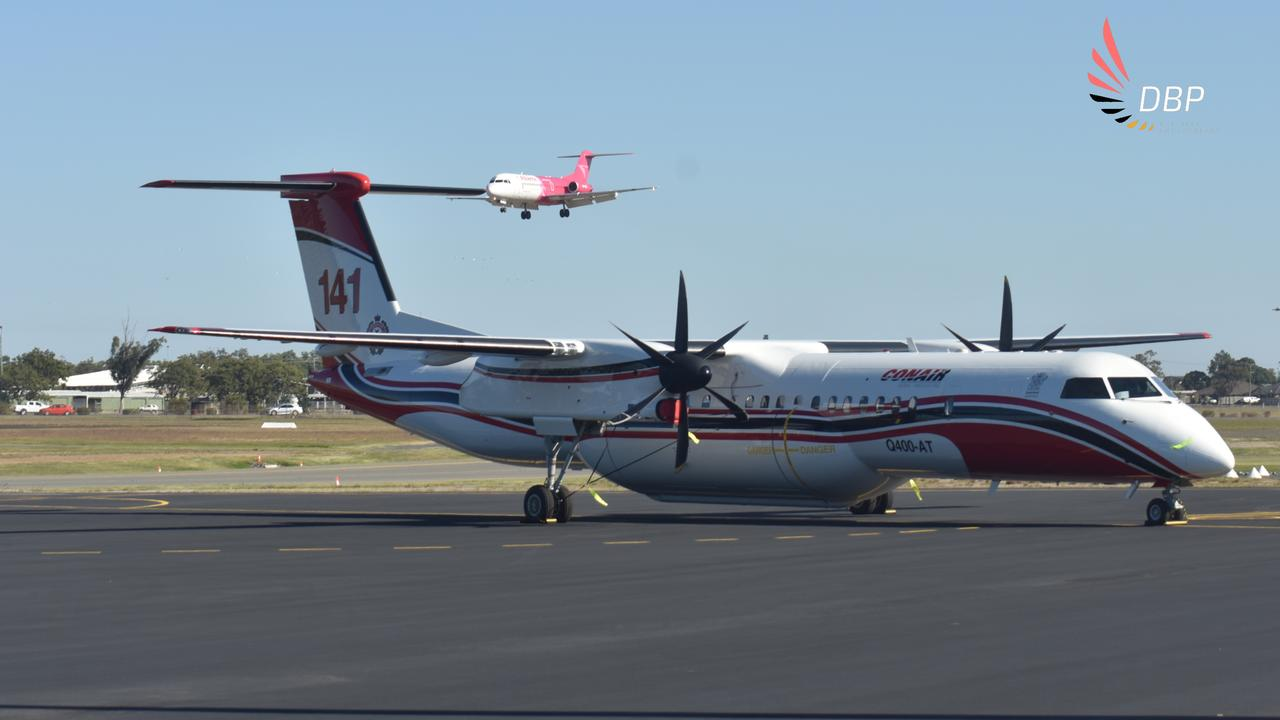 The Conair Q400AT landed in Bundaberg on Monday ready to fight fires from the air this bushfire season. Photo: Dan Beck Photography