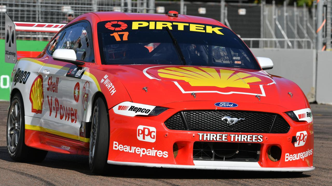 Townsville Supercars. Sunday August 30. Supersprints race 3. Shell V-Power Racing's Scott McLaughlin wins race 3. Picture: Evan Morgan