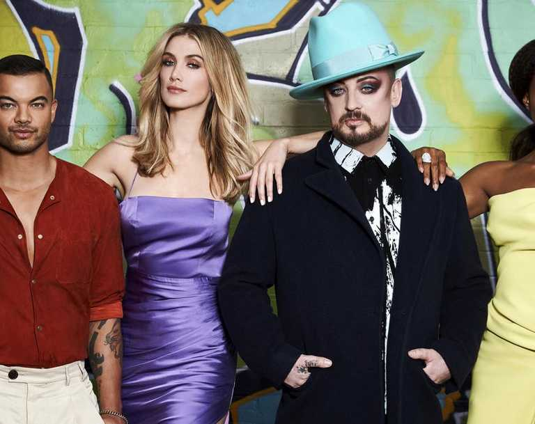 The Voice coaches Guy Sebastian, Delta Goodrem, Boy George and Kelly Rowland. Picture: Channel 9