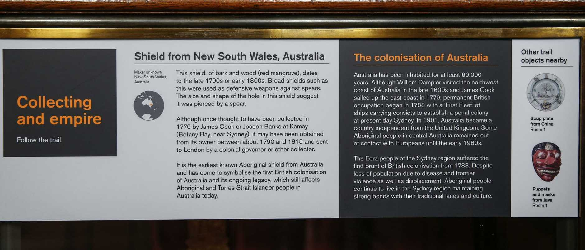 Information underneath a bark shield from News South Wales, Australia displayed at the British Museum in London, U.K. Photo: News Corp Australia Network