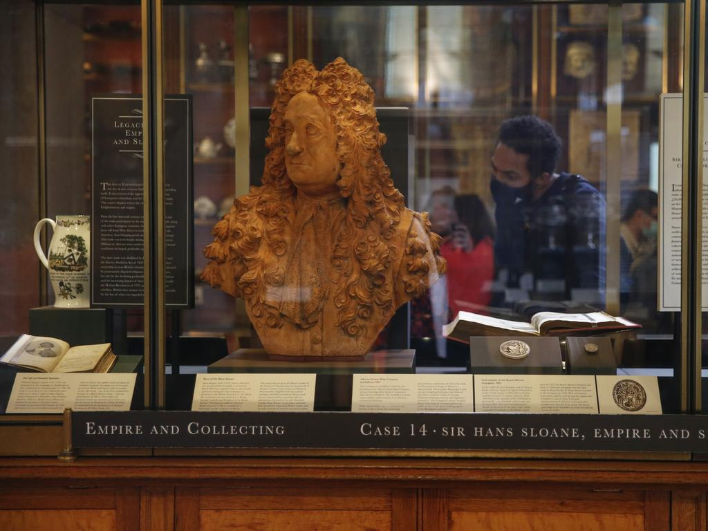 The bust of Sir Hans Sloane, a slave trader and the founder of the British Museum, on display inside a secure cabinet at the British Museum in London, U.K. Photo: News Corp Australia Network