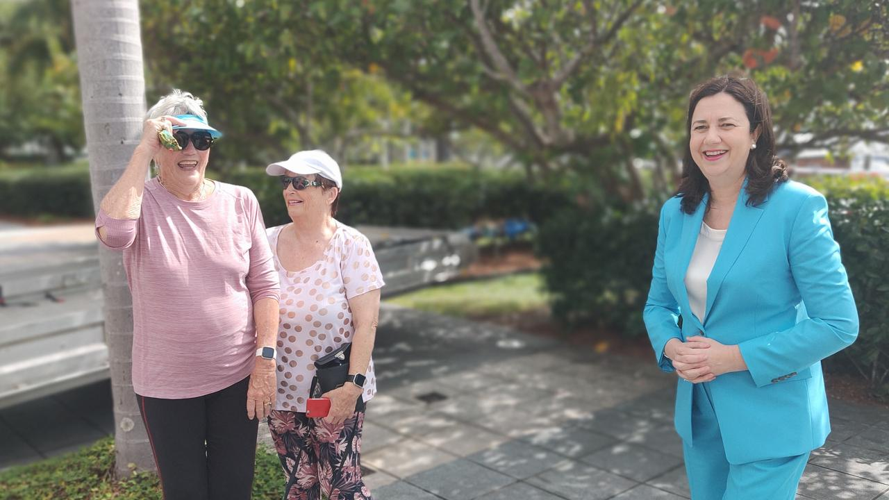 Premier Annastacia Palaszczuk (right) meets Gold Coast tourists Jan Causer and Lynn Messer during the State Government's Cabinet visit to Cairns. PICTURE: CHRIS CALCINO
