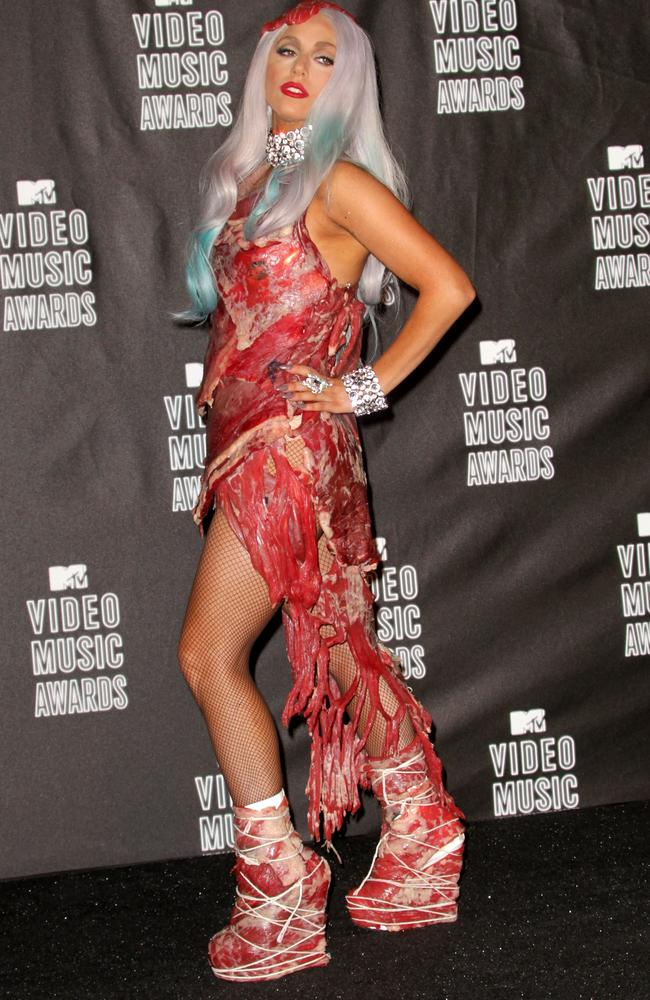 Gaga's iconic 2010 meat dress. Picture: Getty