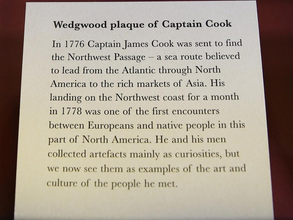 An explanation of the Wedgwood plaque of Captain James Cook. Photo: News Corp Australia Network