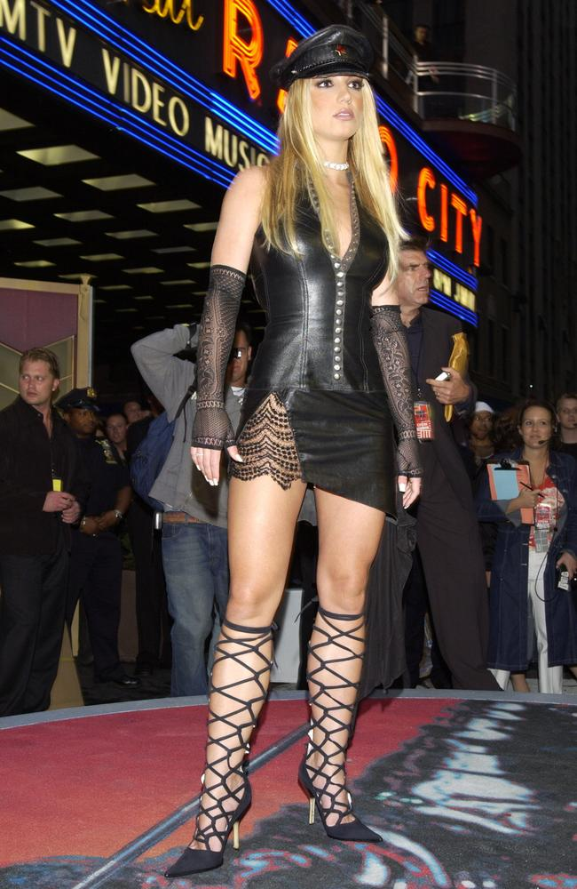Britney Spears in black leather, 2002. Picture: KMazur/WireImage