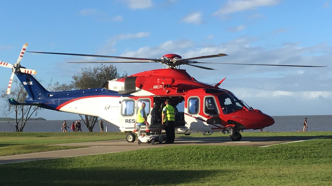Rescue 510 arrives at Cairns Hospital after a crash at Tolga. PHOTO: Stewart McLean