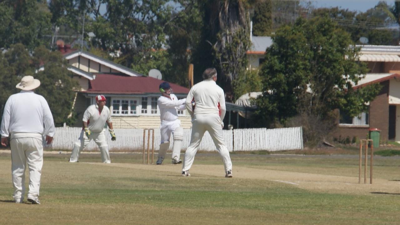Lockyer/Ipswich batsman Rod Wilkinson hitting a six.