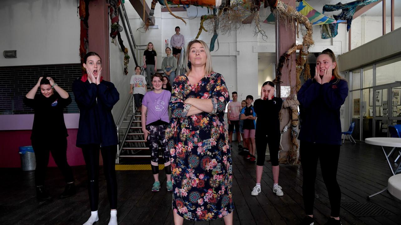 Facing the 'casting director' (Amanda Hock) at the Perfecting Your Audition Technique workshop are Kaylee Boyce, Elizabeth Barwick, Christina Tungate, Shamika Weder and Ebony Harris