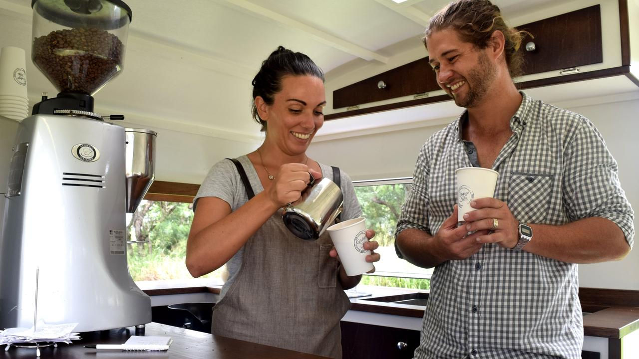 Vintage Kiss owners Paris and Brodie West have spent $8000 transforming a horse float into an eclectic travelling bar, fully equipped with glasses, cocktail shakers, dispensers and ice buckets. Picture: Louise Starkey