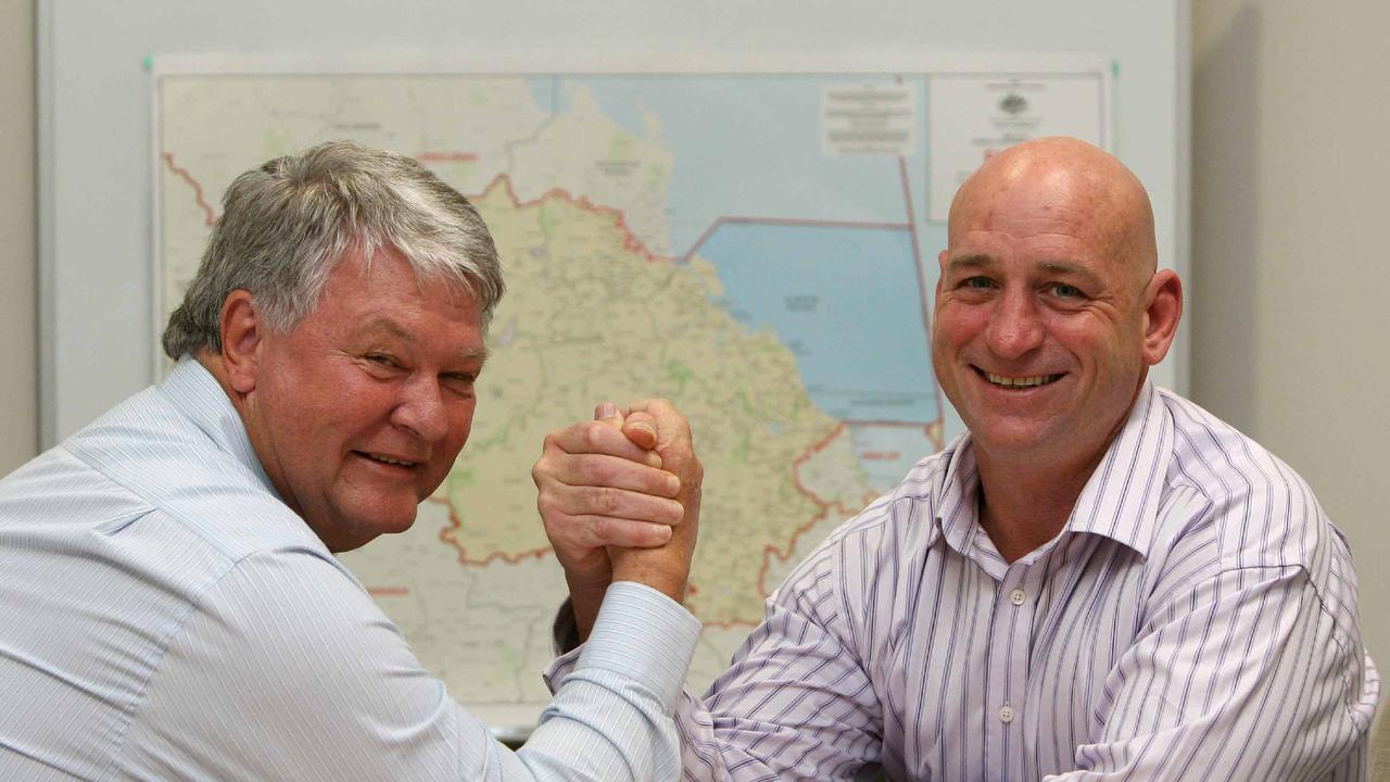 BSM News 15.7.10 L/R LNP candidate Ken O'Dowd with then sitting member for Flynn, Chris Trevor.