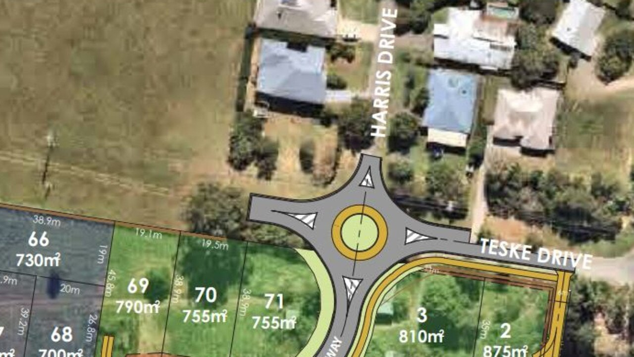 THE PINES: The proposed roundabout to be built on Teske Dr and Harris Dr and the two new roads. Picture: Supplied