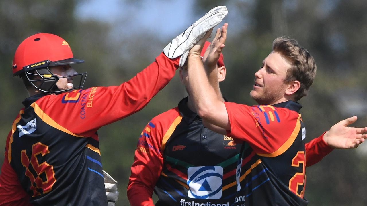 Sunshine Coast Scorchers will get their 2020/21 season underway this weekend. Scorchers bowler Sam Gardiner celebrates a wicket last season. Picture: Warren Lynam