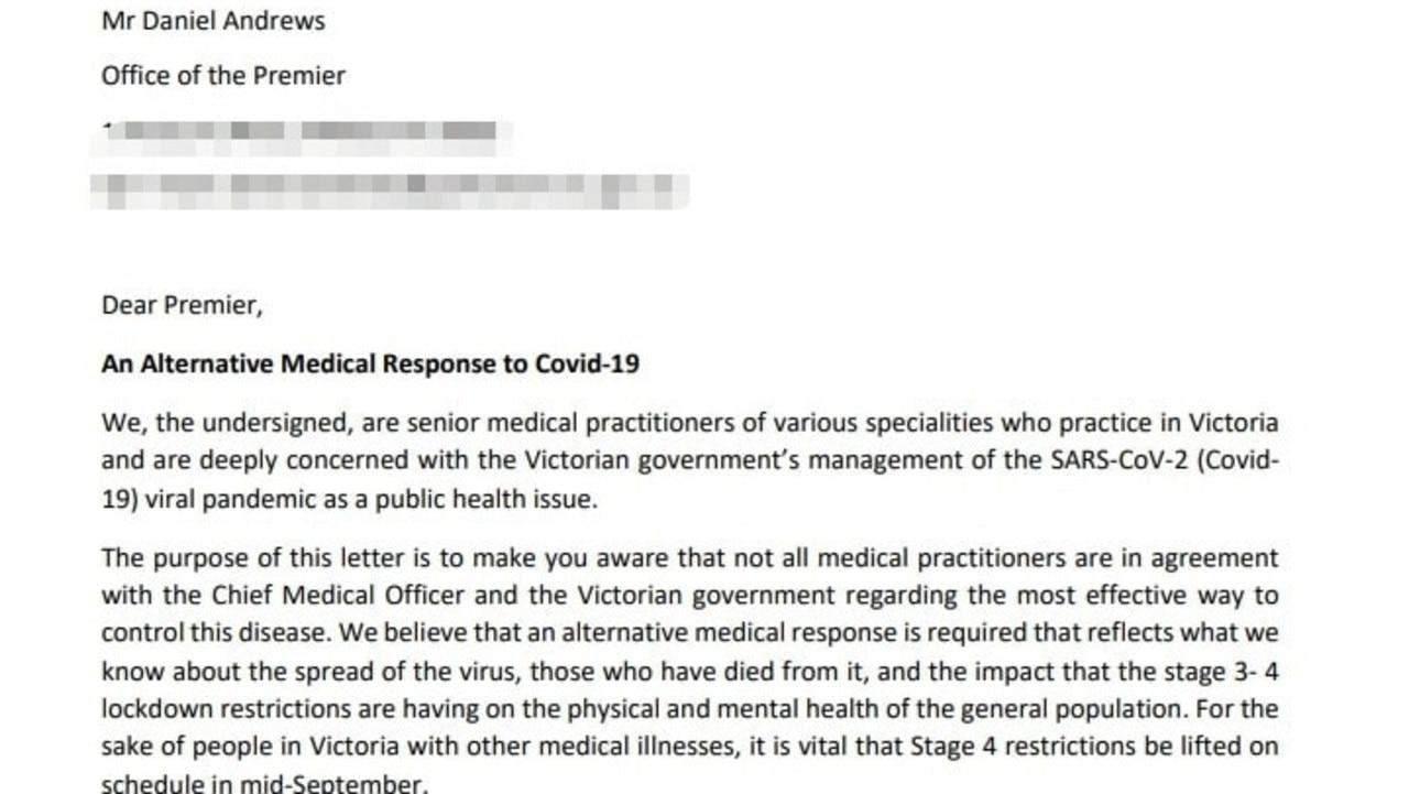 The letter sent to Dan Andrews.