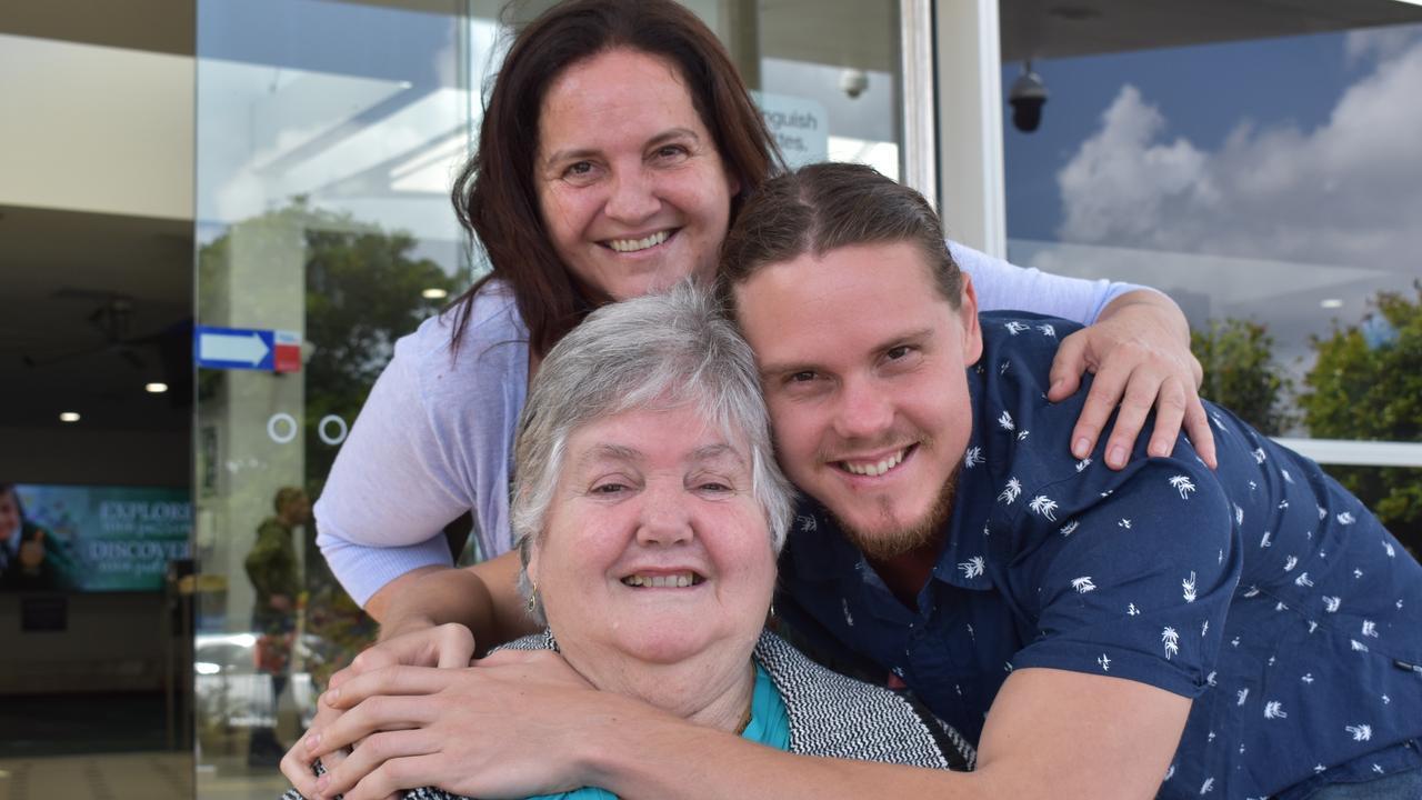 Elizabeth Mosman (middle) was a passenger on the newly resumed Adelaide to Sunshine Coast flight. She hadn't seen her daughter, Debbie Vanzoelen or her grandson, Ben Vanzoelen for a year. Picture: Laura Pettigrew