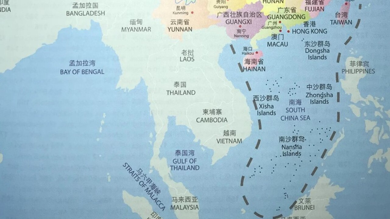 Textbook from publisher Cengage Learning displays a map of China showing controversial and disputed nine dash line.