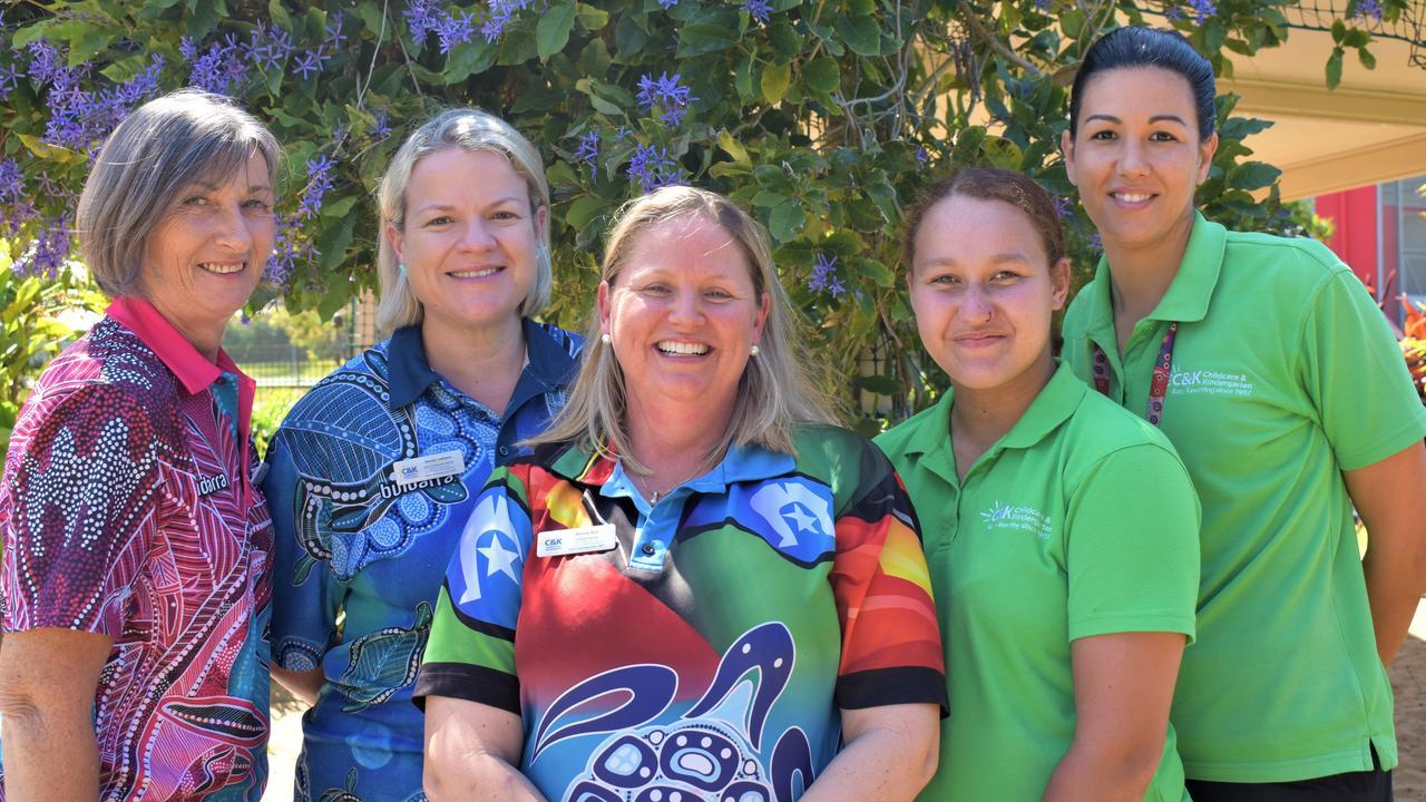 C & K Eimeo Road Community Kindergarten director and teacher Belinda Rule (centre) with team (from left): co-educator Sharon Flindall, early childhood teacher Wendy Ladhams, educator Jaleah Walker and educator Shelly Hansen. Picture: Heidi Petith
