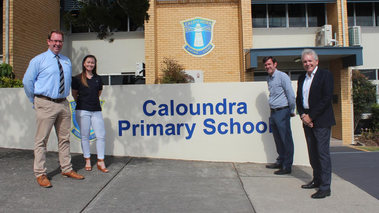 LNP Candidate for Caloundra Stuart Coward, parent Sonya Hargreaves, P & C president Daniel McDougall and Caloundra MP Mark McArdle at Caloundra State Primary School where they announced an LNP government would commit $600,000 to fund upgrades. Picture: Supplied