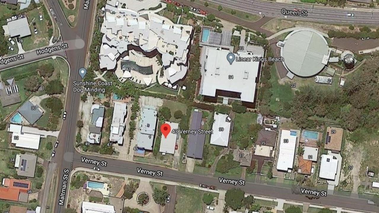NEW DEVELOPMENT: A Google Maps satellite image of the site at 43 Verney Street, Kings Beach. Picture: Google Maps