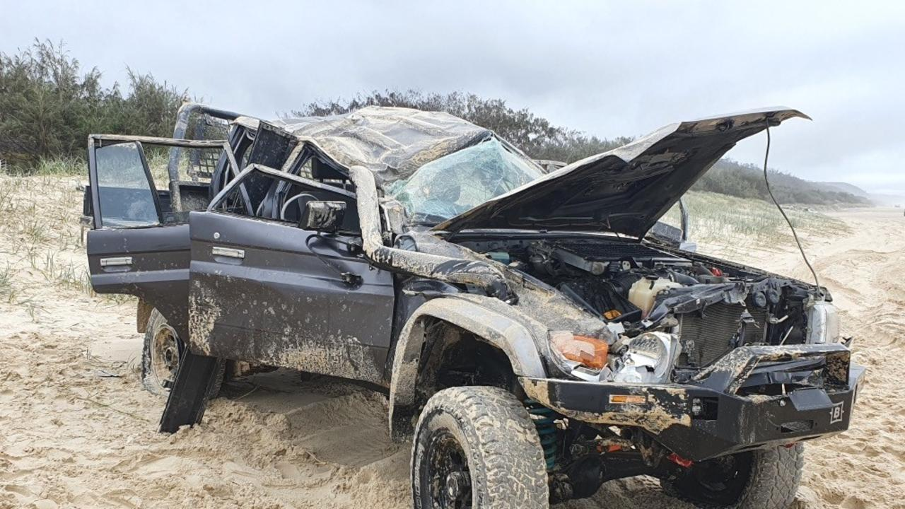 Calls are growing for a greater police presence to curb reckless behaviour at Teewah Beach following a spate of serious incidents, including this roll over on the weekend of August 8-9, 2020