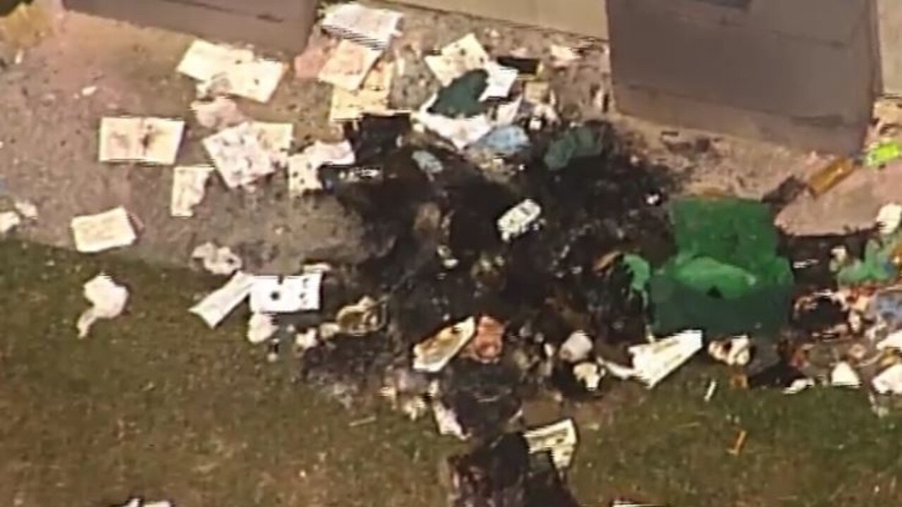 The remnants of one of the fires started by rioting prisoners at Arthur Gorrie jail. Picture: 7 News