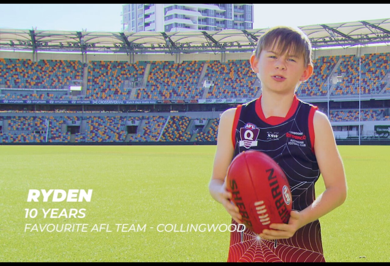 Queensland's pitch to the AFL for the 2020 grand final included a video featuring 10-year-old Ryden.