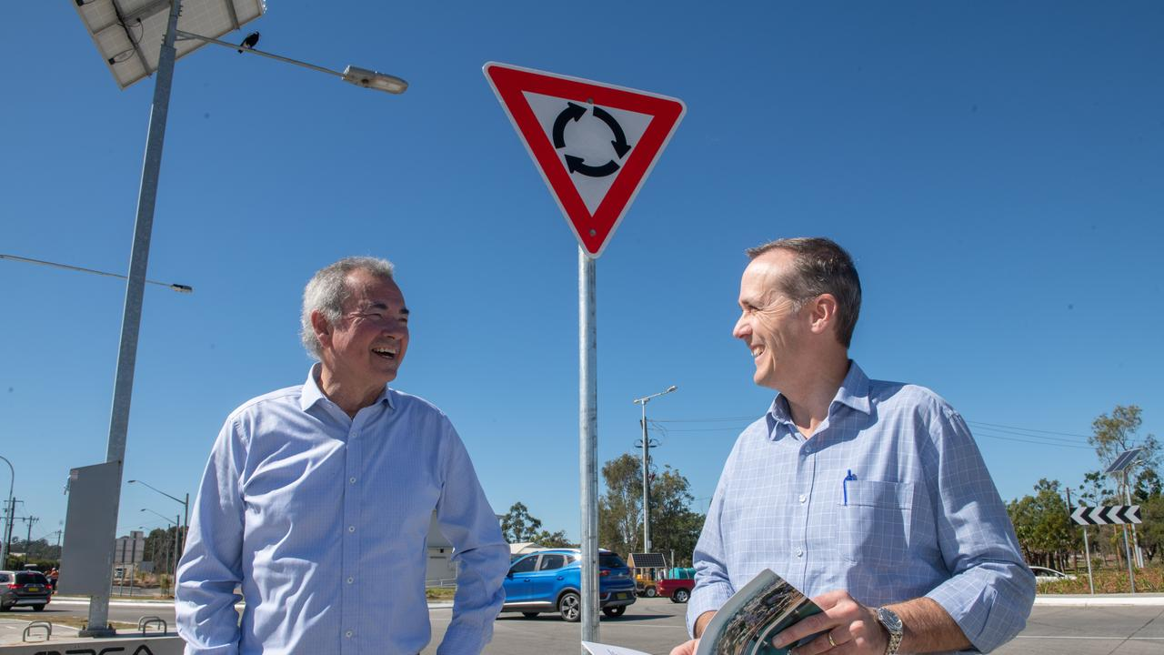 Member for Clarence Chris Gulaptis speaks with Grafton Bridge project manager Greg Nash at the completed South Grafton roundabout which marks the completion of the Grafton Bridge project.