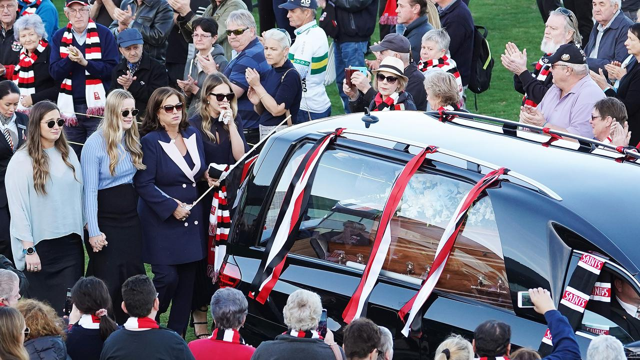 Anita Frawley and daughters Keeley, Danielle and Chelsea are seen during a celebration to honour the life of Danny Frawley. (AAP Image/Stefan Postles)