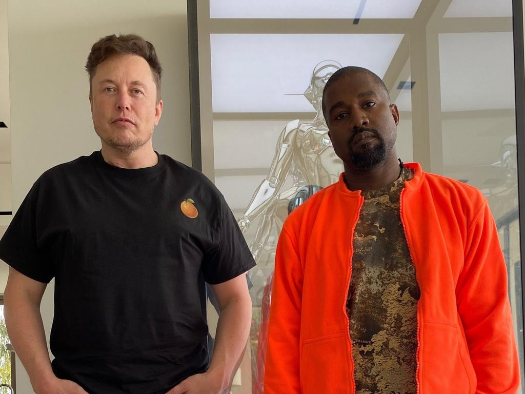 Elon Musk and presidential candidate Kanye Wests. Picture: Supplide
