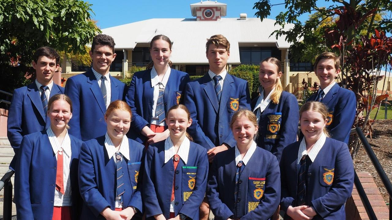 West Moreton Anglican College shining sport stars of 2020: Back row - Corey Flood, Joshua Boyle, Grace Hughes, Jake Patrick, Claire Gould and Markus Brits.Front row: Caitlin Taylor, Georgia Martell, Ella Lane, Talicia Canty and Ruby Blunn.