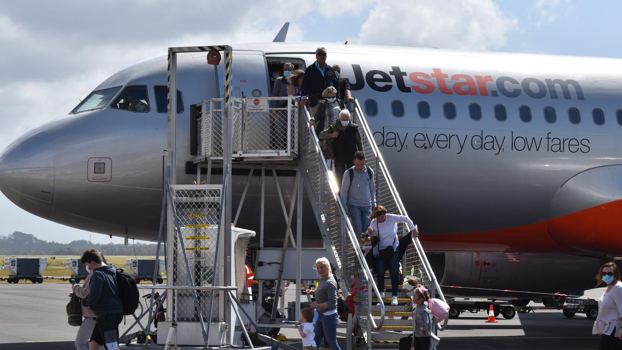 Passengers disembark the first direct flight between Adelaide and the Sunshine Coast since COVID-19 cancellations. Picture: Laura Pettigrew