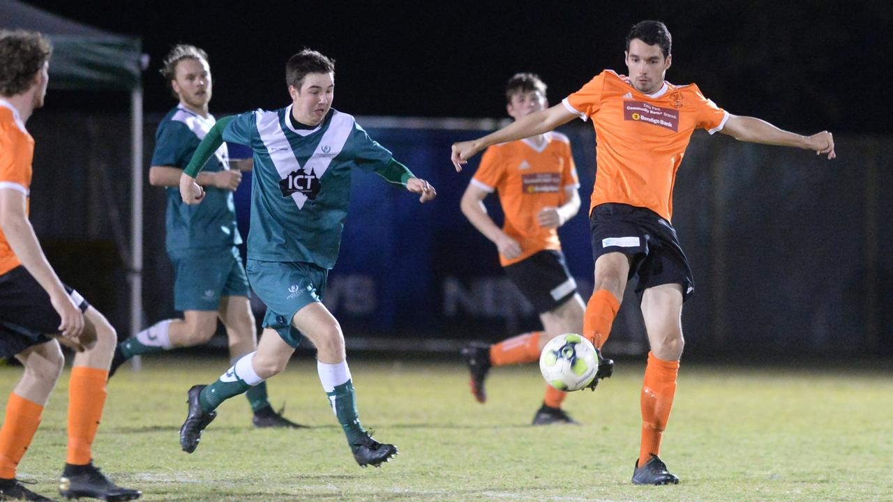 Frenchville beat Capricorn Coast 2-nil in Round 8 of the CQ Premier League on Saturday night. Photo: Jann Houley