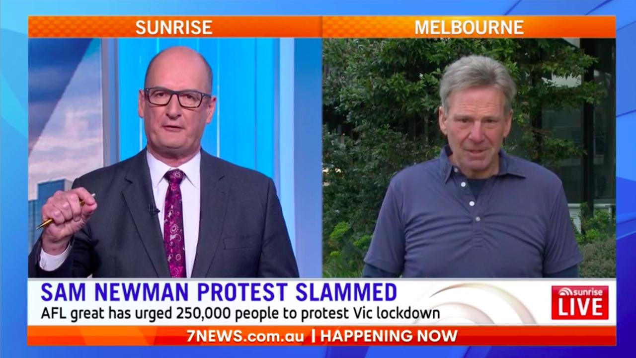 """Newman said his tweet wasn't a call to arms but """"theoretically a great idea"""". Picture: Channel 7"""