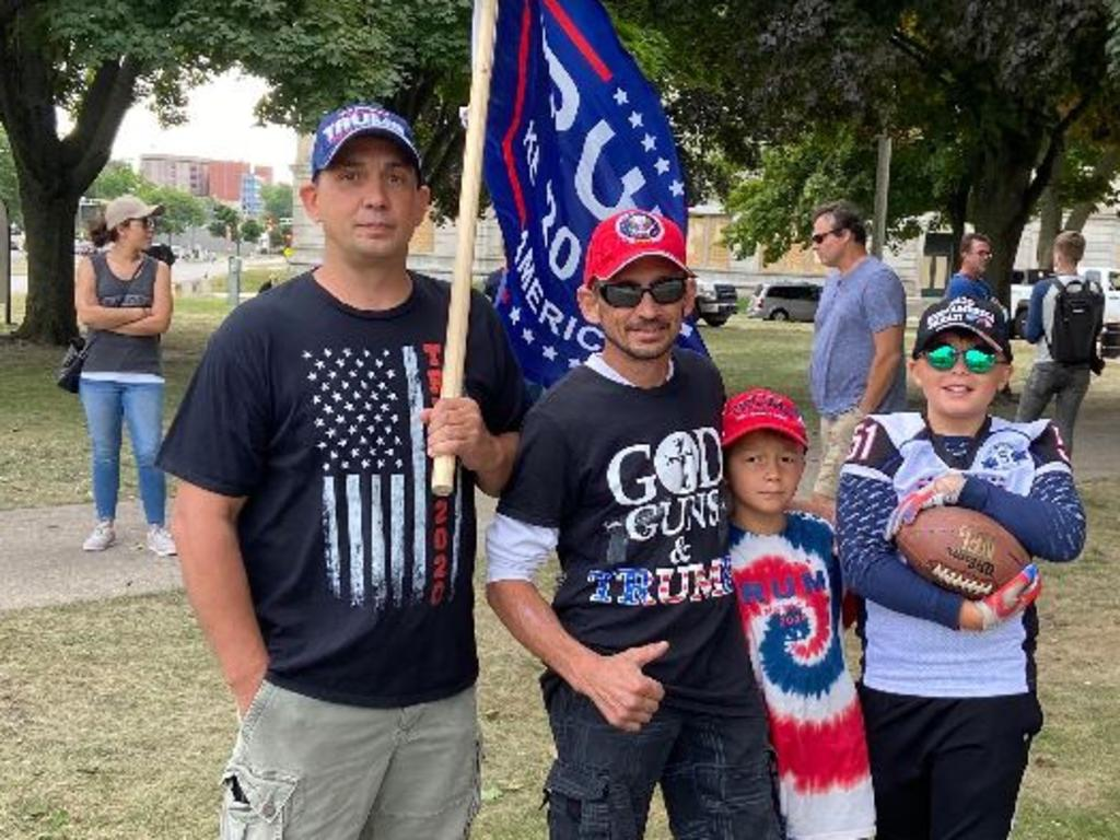 President Trump supporters Kenosha locals Tony and Steven Fani with Steven's sons Leo and Blake in Wisconsin. Picture: Sarah Blake
