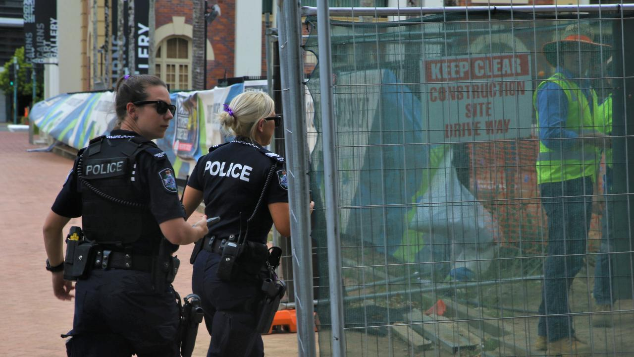 Police were called to the a construction site in the Cairns CBD to solve a mystery unearthed by workers last Friday. Picture: PETER CARRUTHERS