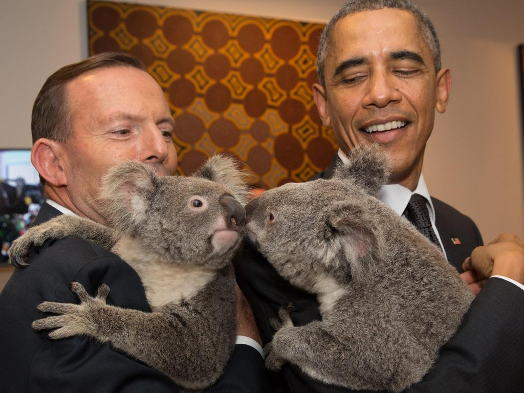 The former PM with Barack Obama in 2014. Picture: Andrew Taylor/G20 Australia via Getty Images.