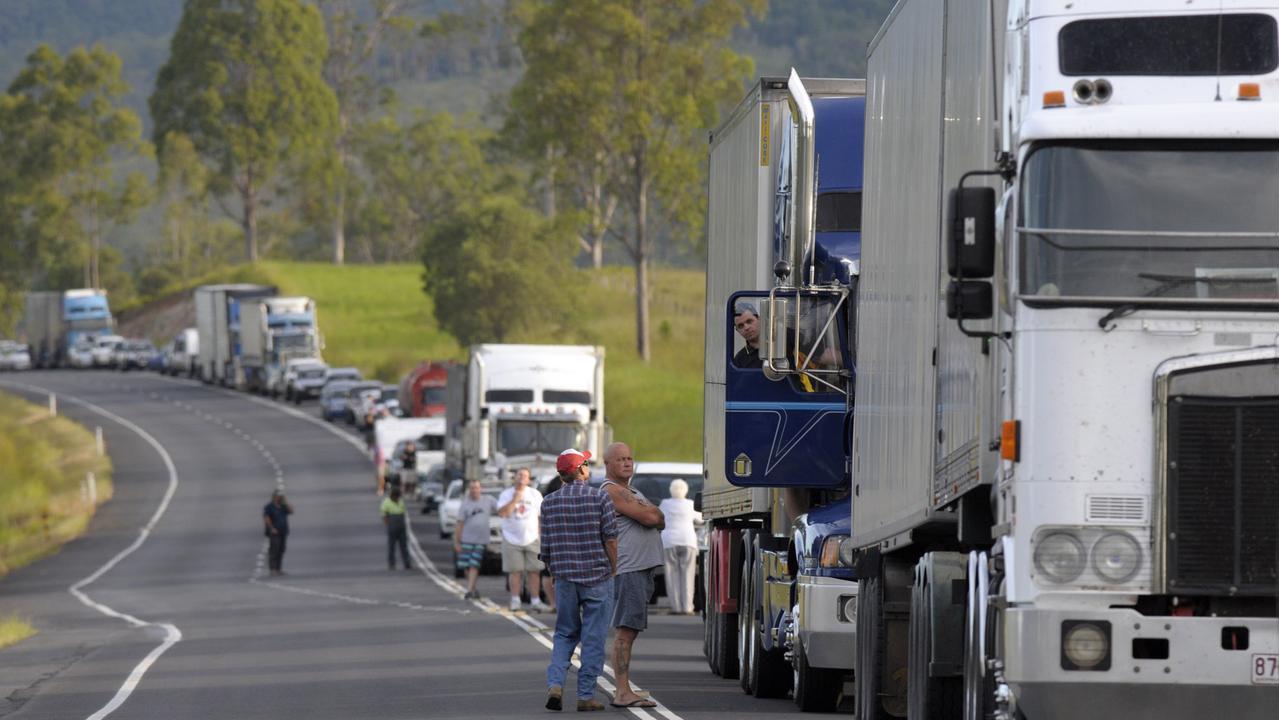 Traffic banks up at a fatal crash at Tiaro in 2011. Pic John Wilson