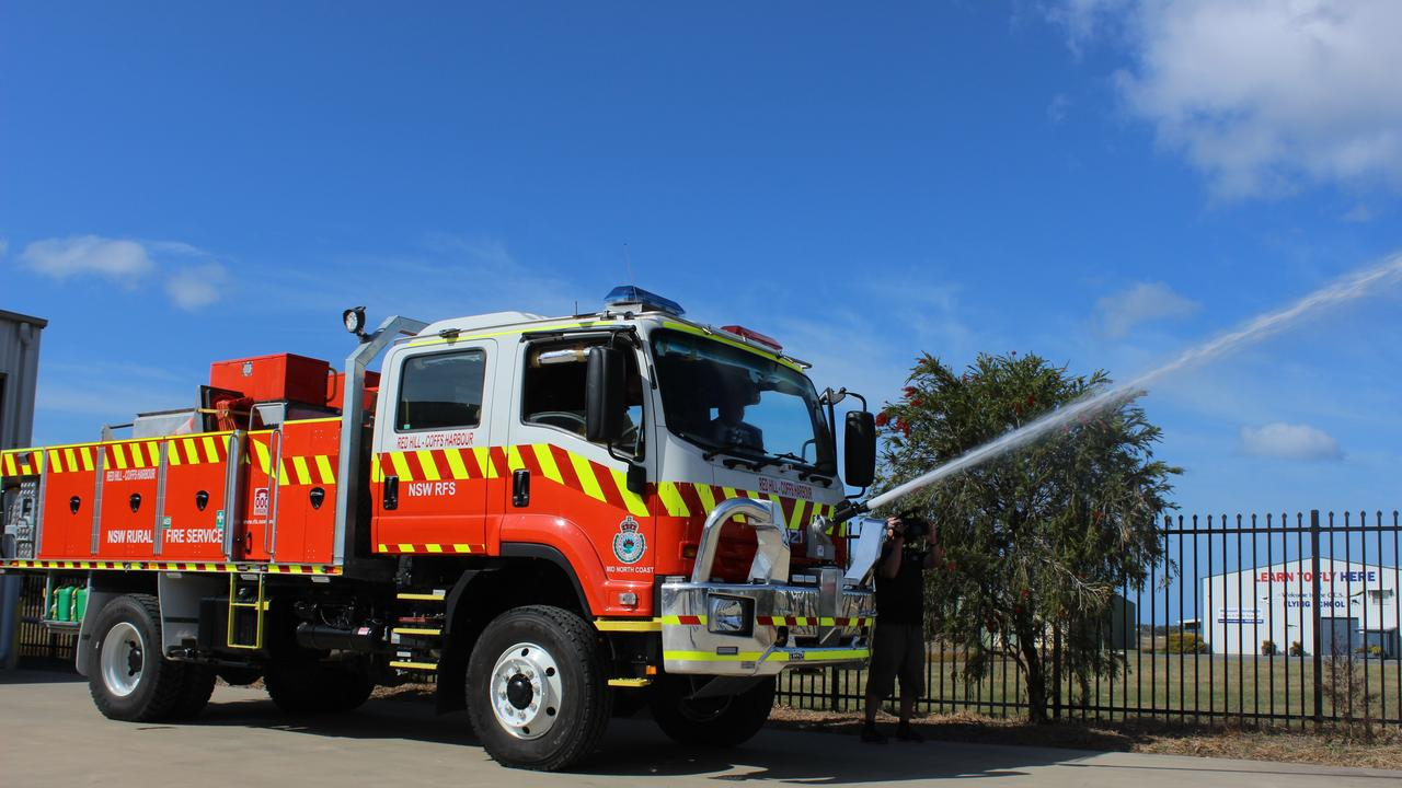 The new Red Hill RFS Cat 1 tanker can be controlled by a monitor in the cab, spray water using just a monitor and water. Photo: Tim Jarrett