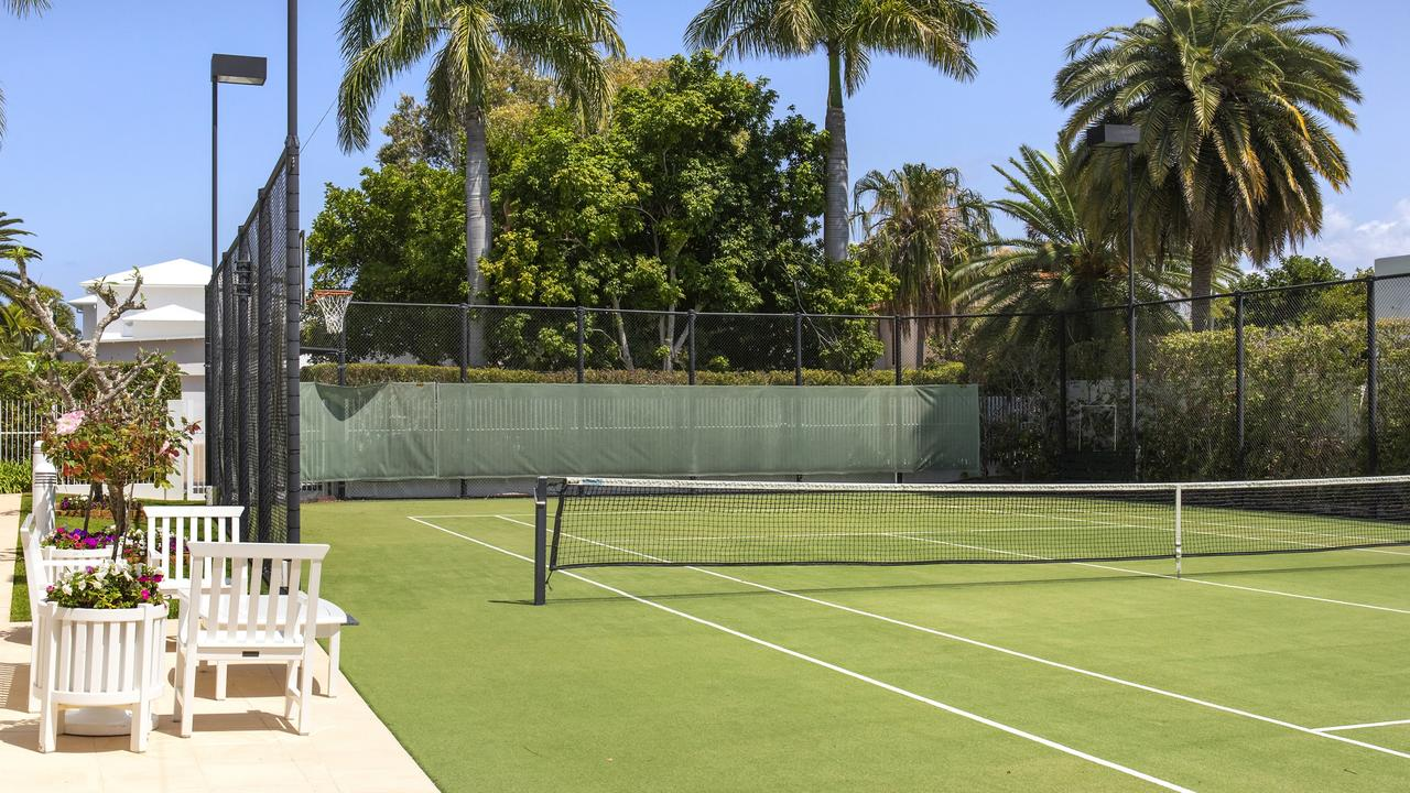 The tennis court at the property. Image supplied.
