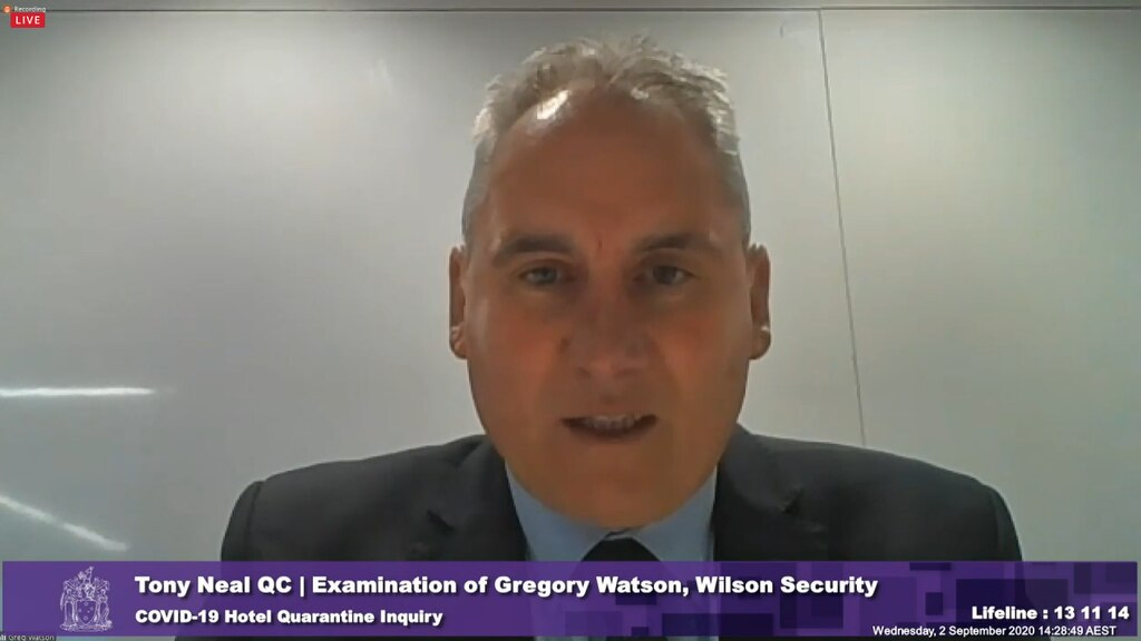 Security guards were threatened with $20,000 fines after pushing back on a request to take quarantined hotel guests for fresh air walks, said Gregory Watson from Wilson Security.