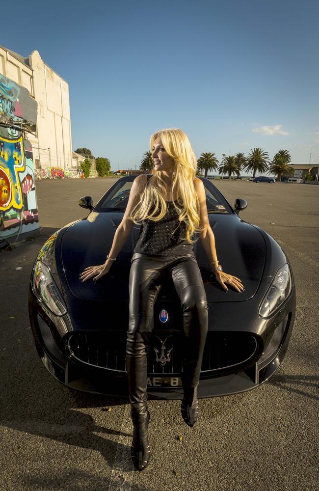 Areti Arvanitis with her Maserati. Picture: Chris Hopkins/Headpress