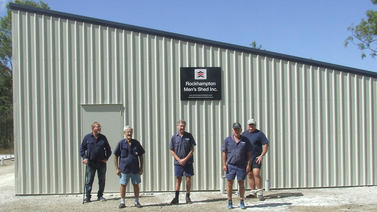 CONSTRUCTION PROGRESS: Rockhampton Men's Shed members Paul, Barry, Gary, Ernie, and Keith are ecstatic to see their new shed complex take shape at CQUniversity.