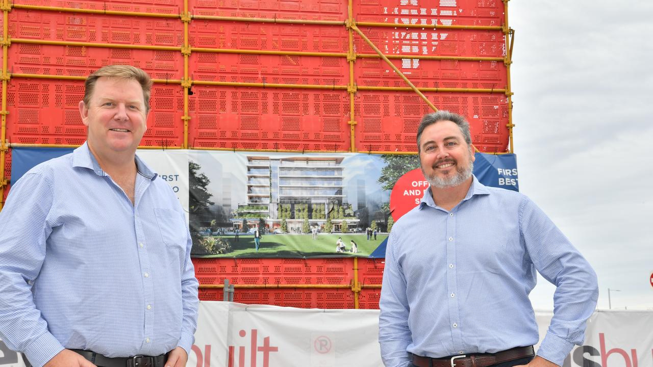 Dirk Long (Evans Long) and Matthew Gould (JLL) at Foundation Place construction site in Maroochydore's CBD. Picture: John McCutcheon