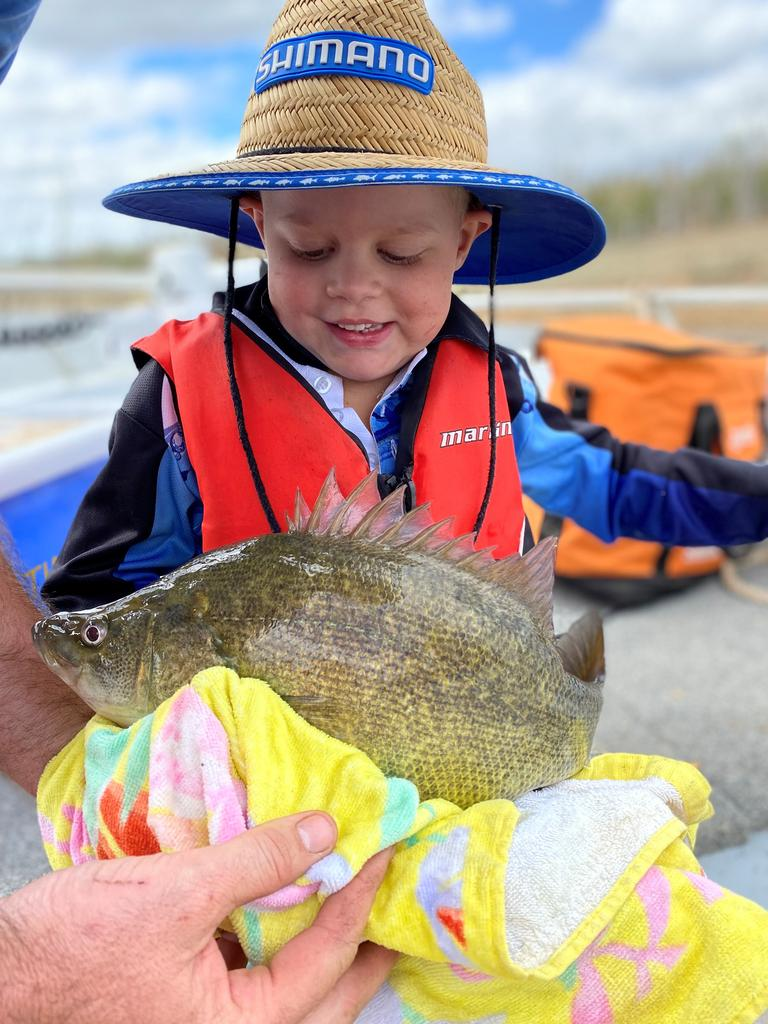 Josh Bargenquast, 4, with the yellowbelly he caught at Paradise Dam. Photo: Contributed.