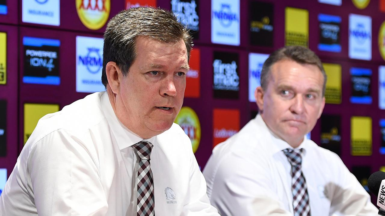 Brisbane Broncos chairman Karl Morris with CEO Paul White. Picture: AAP Image/Albert Perez