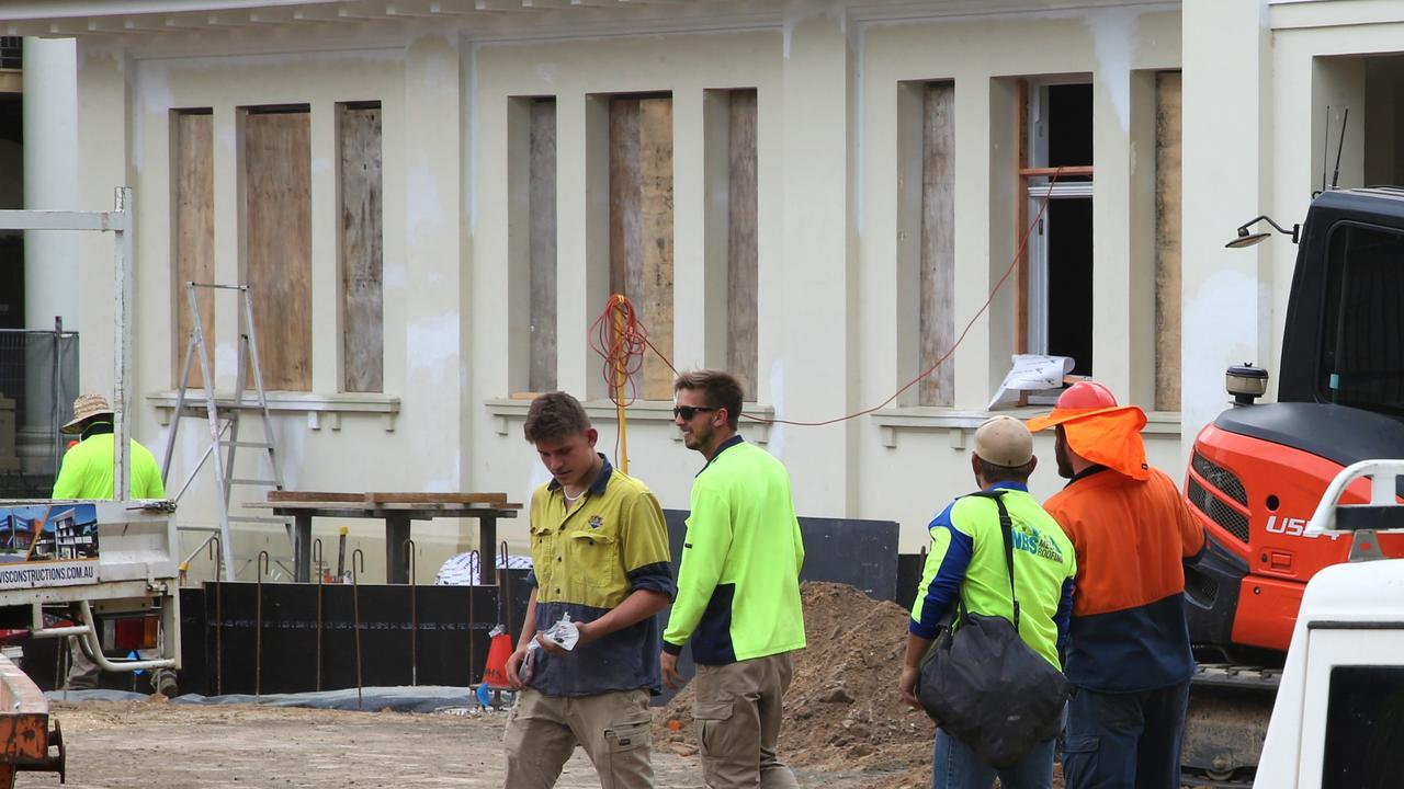 Construction workers have unearthed something suspicious from the grounds of the old Cairns Courthouse. Picture: PETER CARRUTHERS