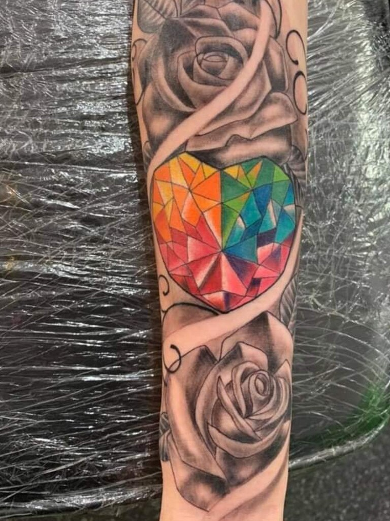 """Kristy Brady got this beautiful tattoo for her son, who was her """"rainbow baby"""" after many miscarriages. Tattoo by Matt, Eternal Mark Tattoo."""