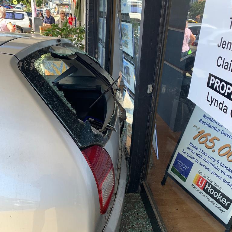 A car crashed into a shop at Bowra St, Nambucca Heads this morning.