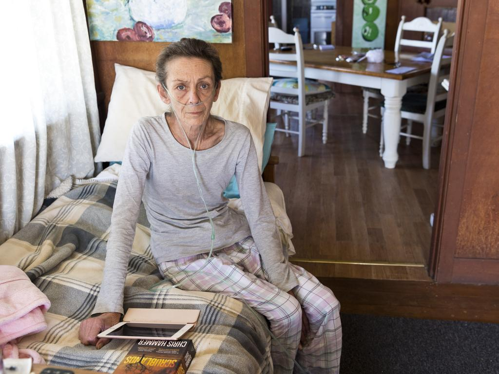 Kylie Kilroy, who suffers a terminal illness, was moved out of her Toowoomba aged care home after she complained on social media about the conditions. Picture: Kevin Farmer